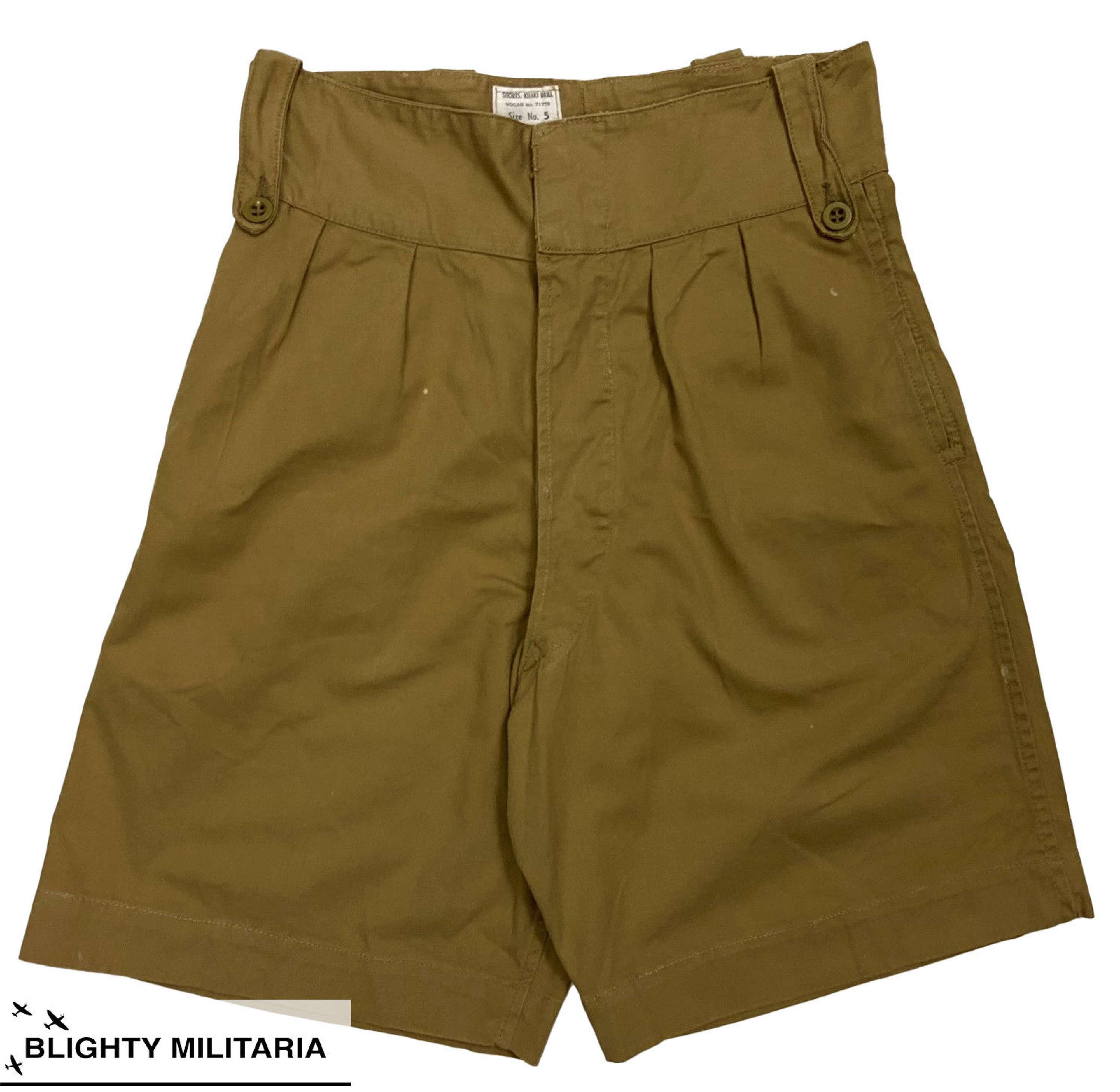 Original 1950s Royal Marines Khaki Drill Shorts - Size 30