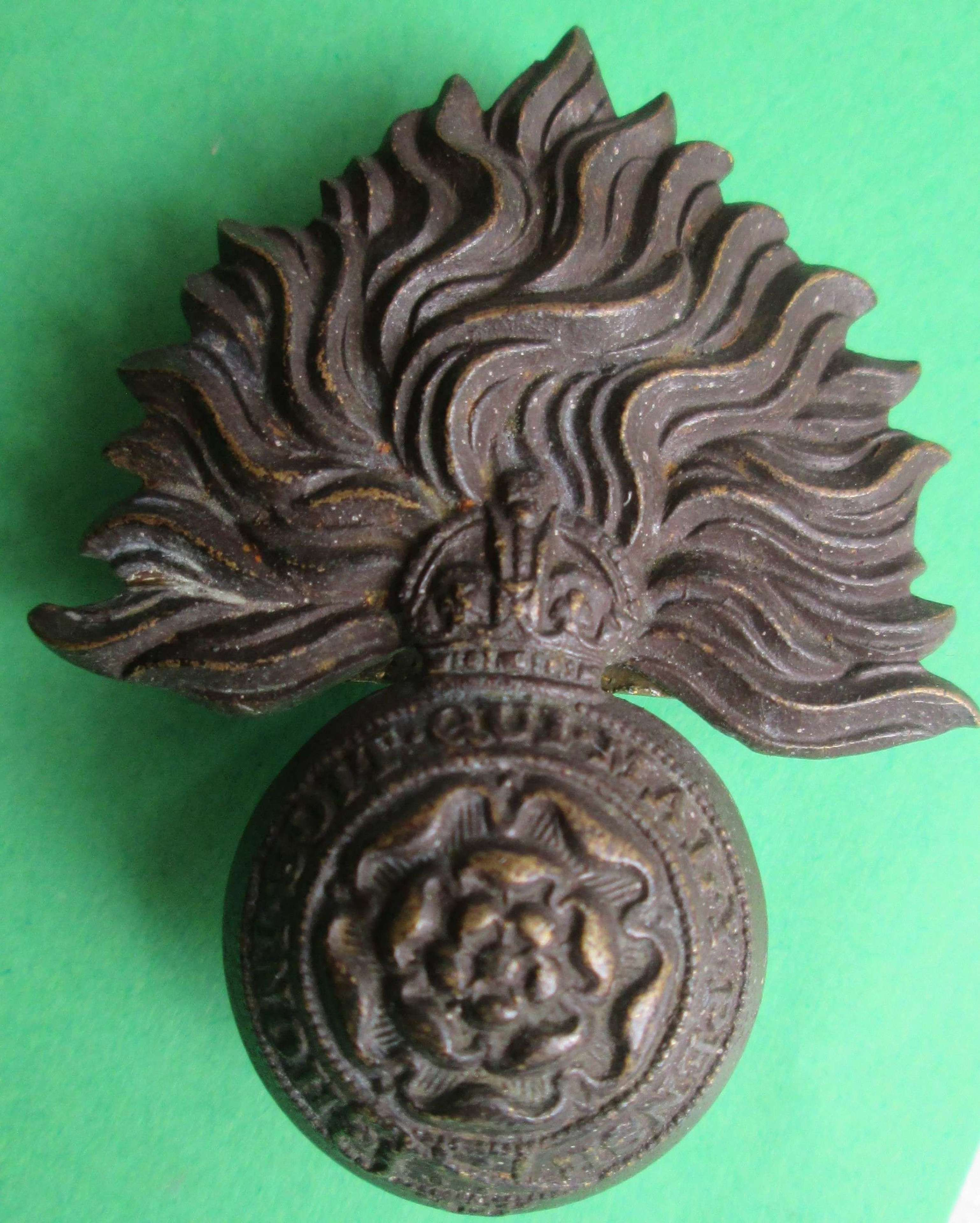 BRASS OFFICER'S ROYAL FUSILIERS CAP BADGE