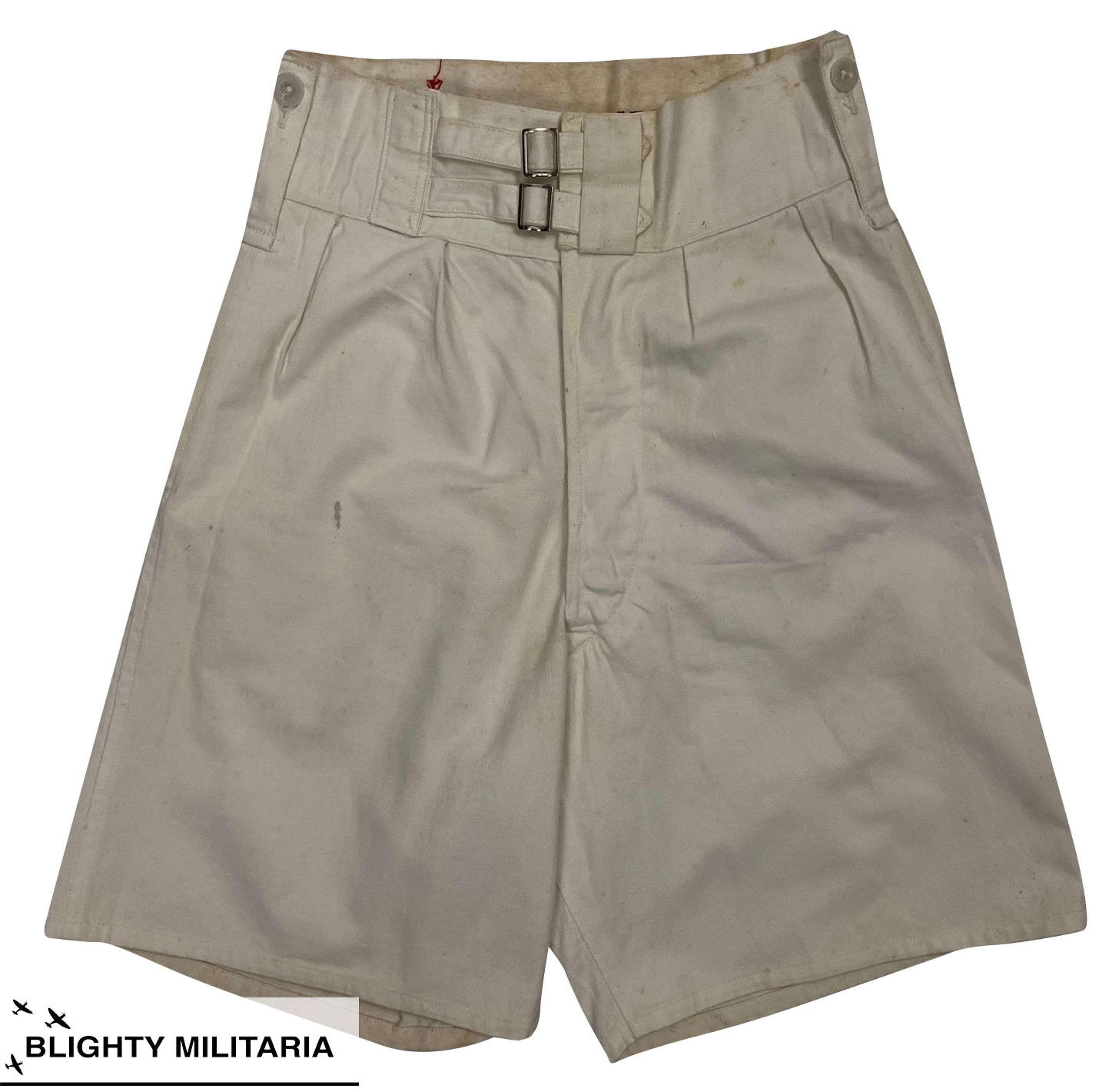 Original 1950s Royal Navy Tropical White Shorts