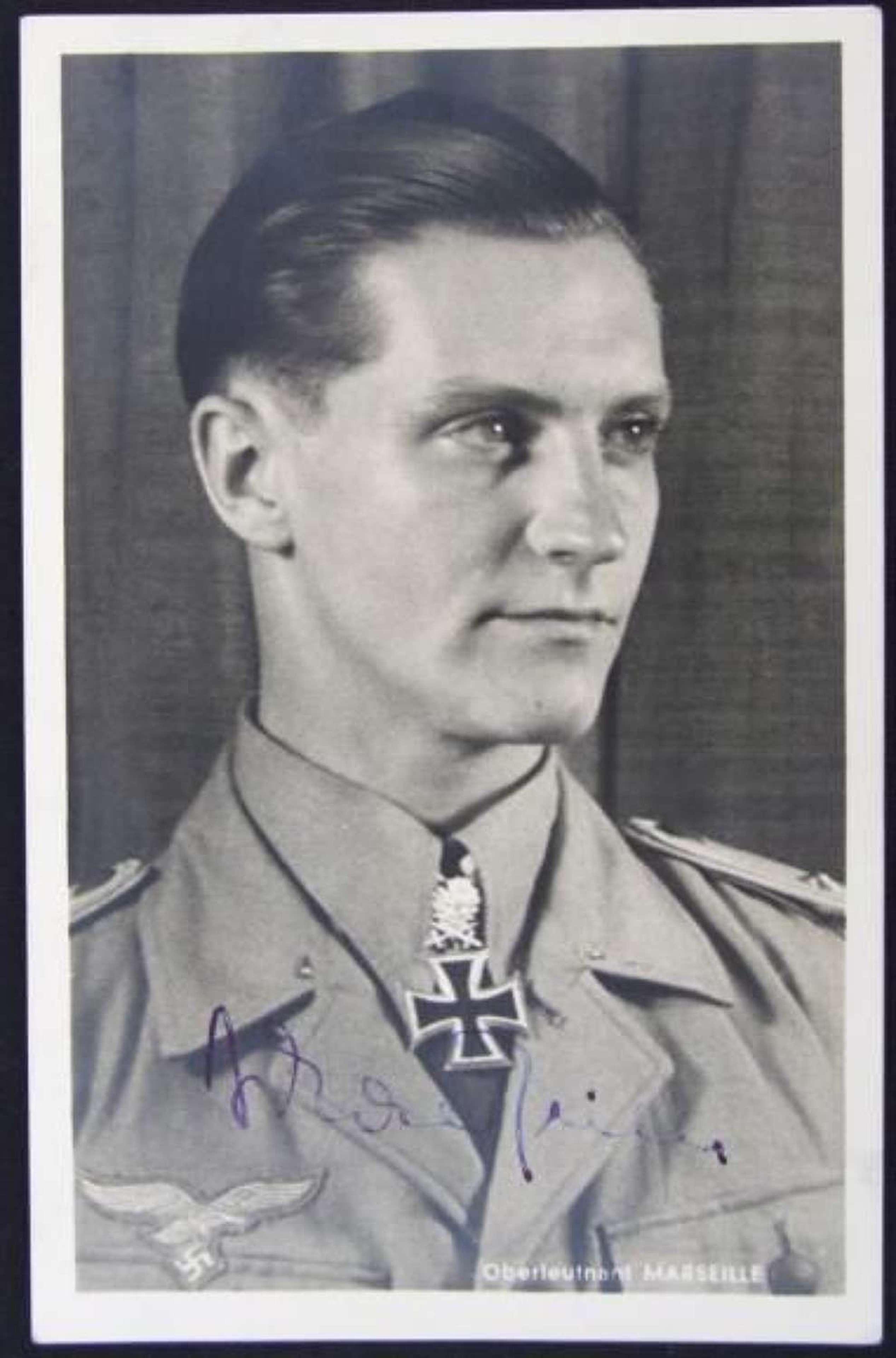 Luftwaffe Ace Hans- Joachim Marseille Autographed Hoffmann Postcard
