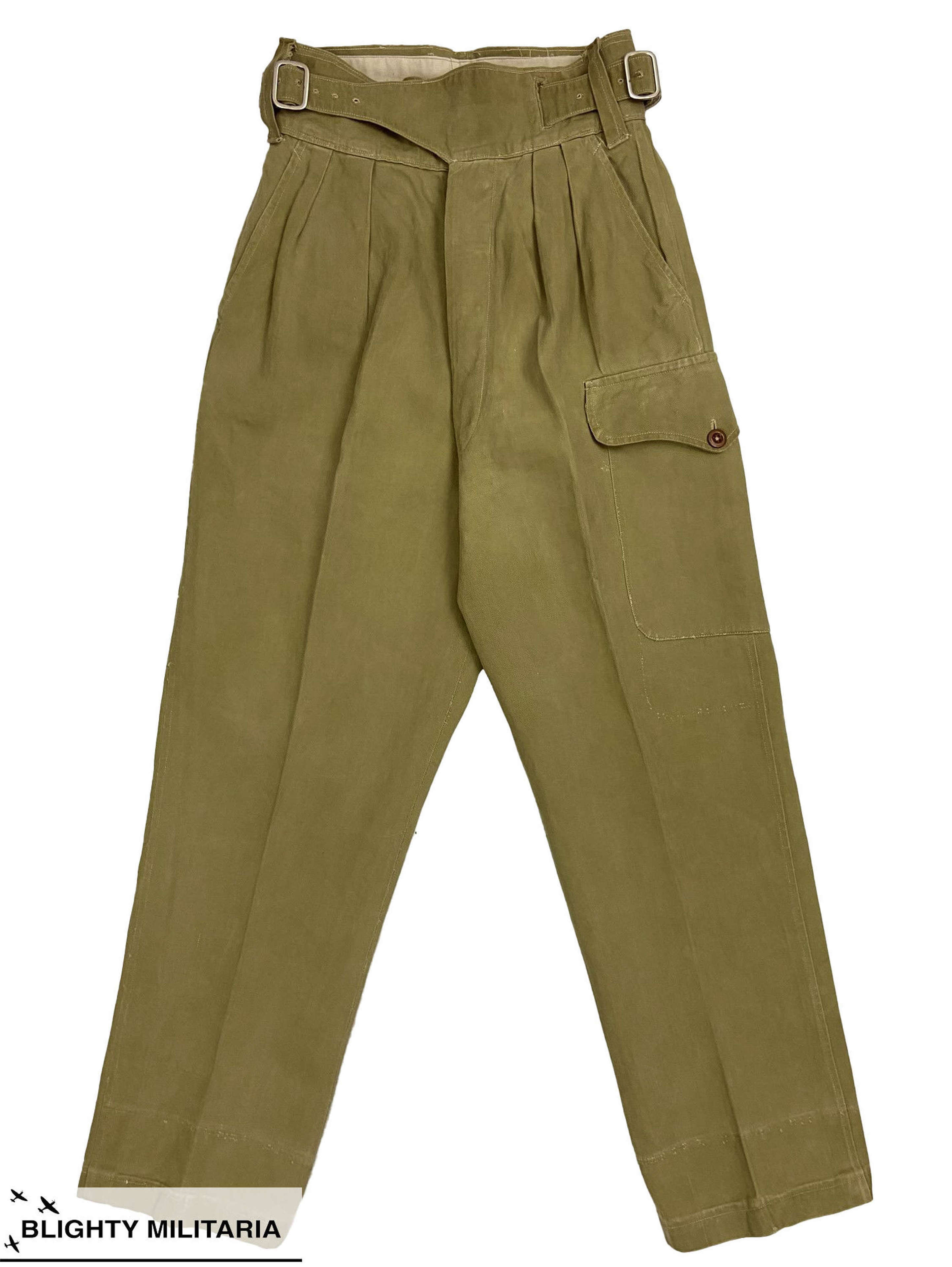 Original 1950s British Khaki Drill Trousers - 1950 Pattern Style