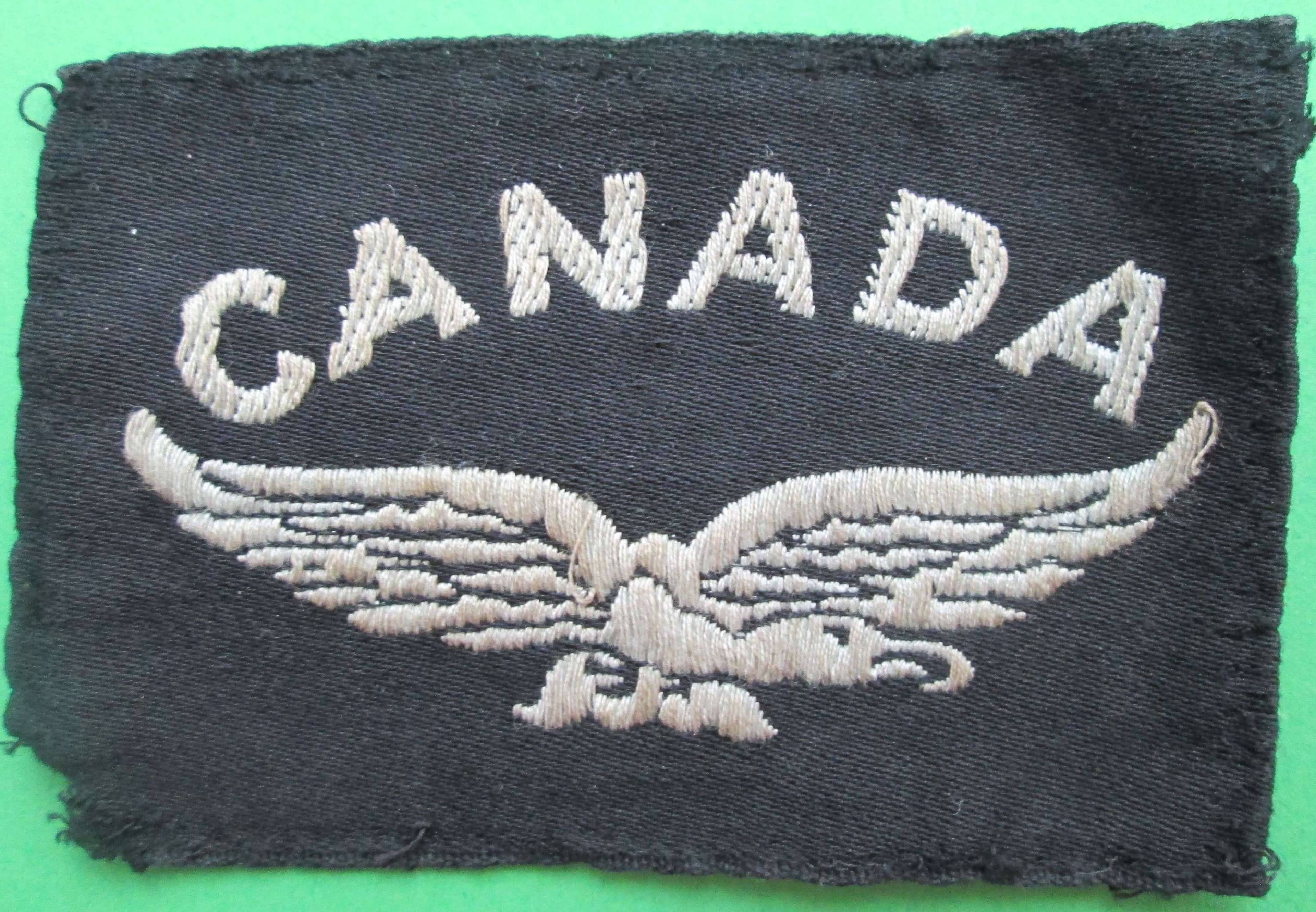 WWII PERIOD CANADIAN AIR FORCE SHOULDER TITLE