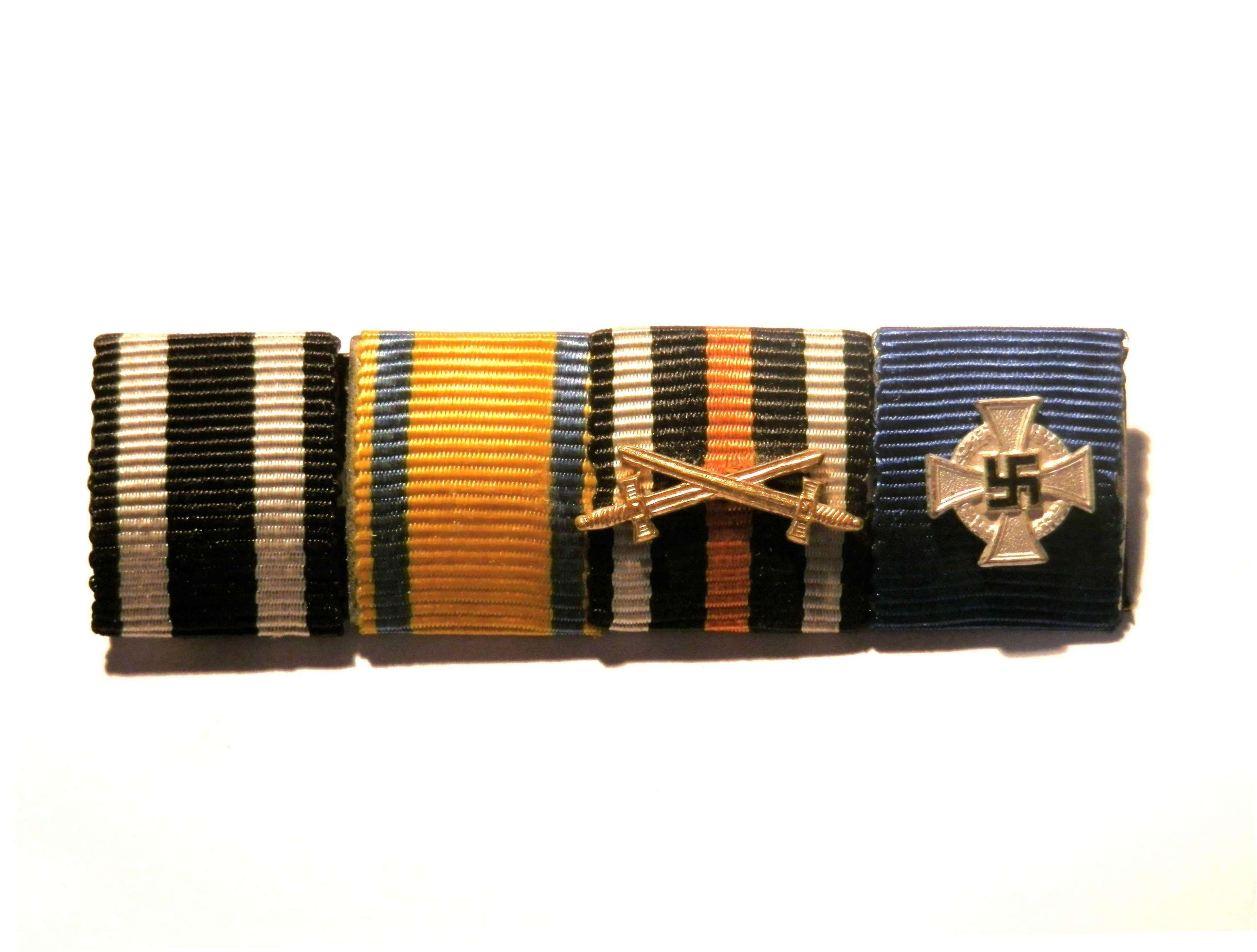 Iron Cross, Friedrich August , Combatants Cross & 25 yrs Ribbon Bar.