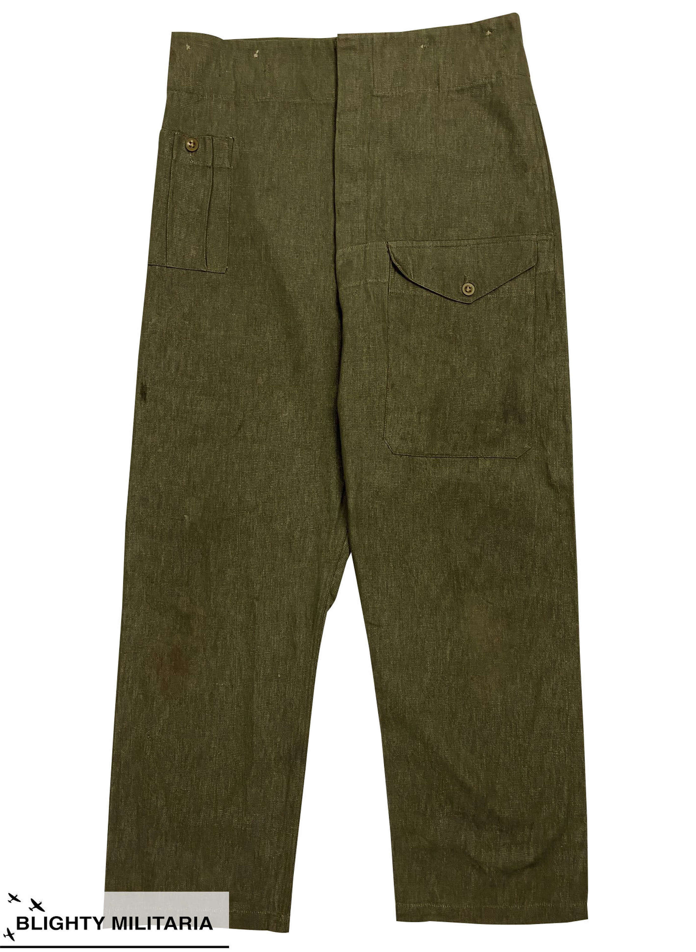 Original 1952 Dated British Denim Battledress Trousers - Size 9