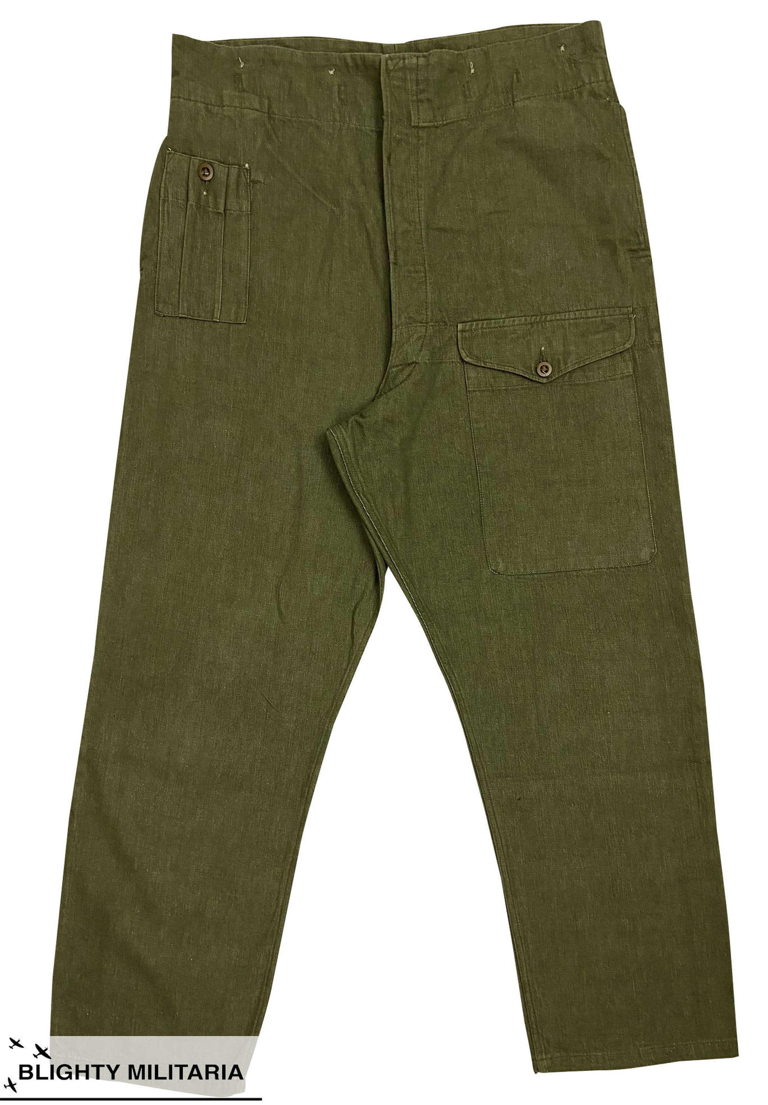 Original 1953 Dated British Denim Battledress Trousers - Size 10