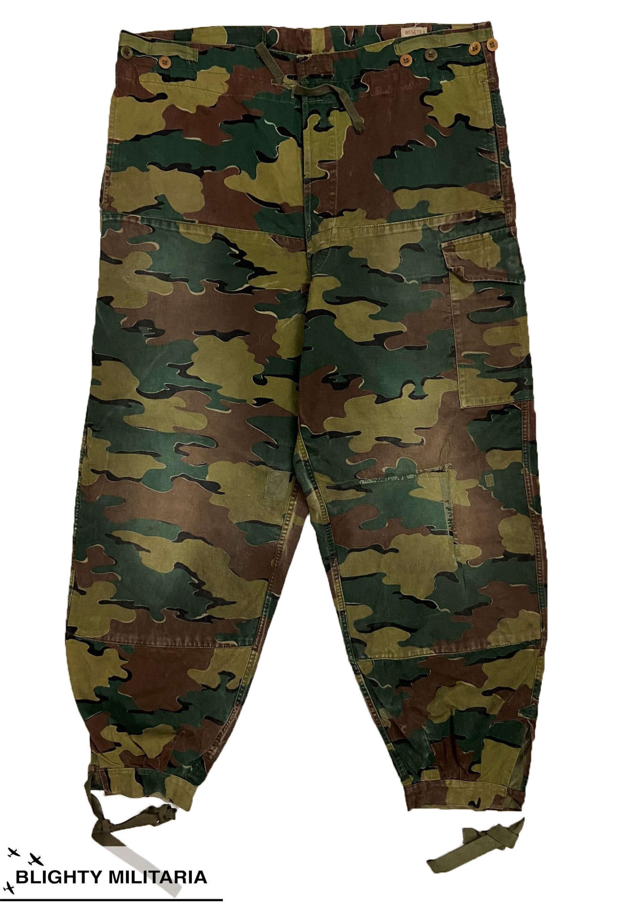 Original 1958 Dated Belgium M/56 Jigsaw Pattern Camouflage Trousers