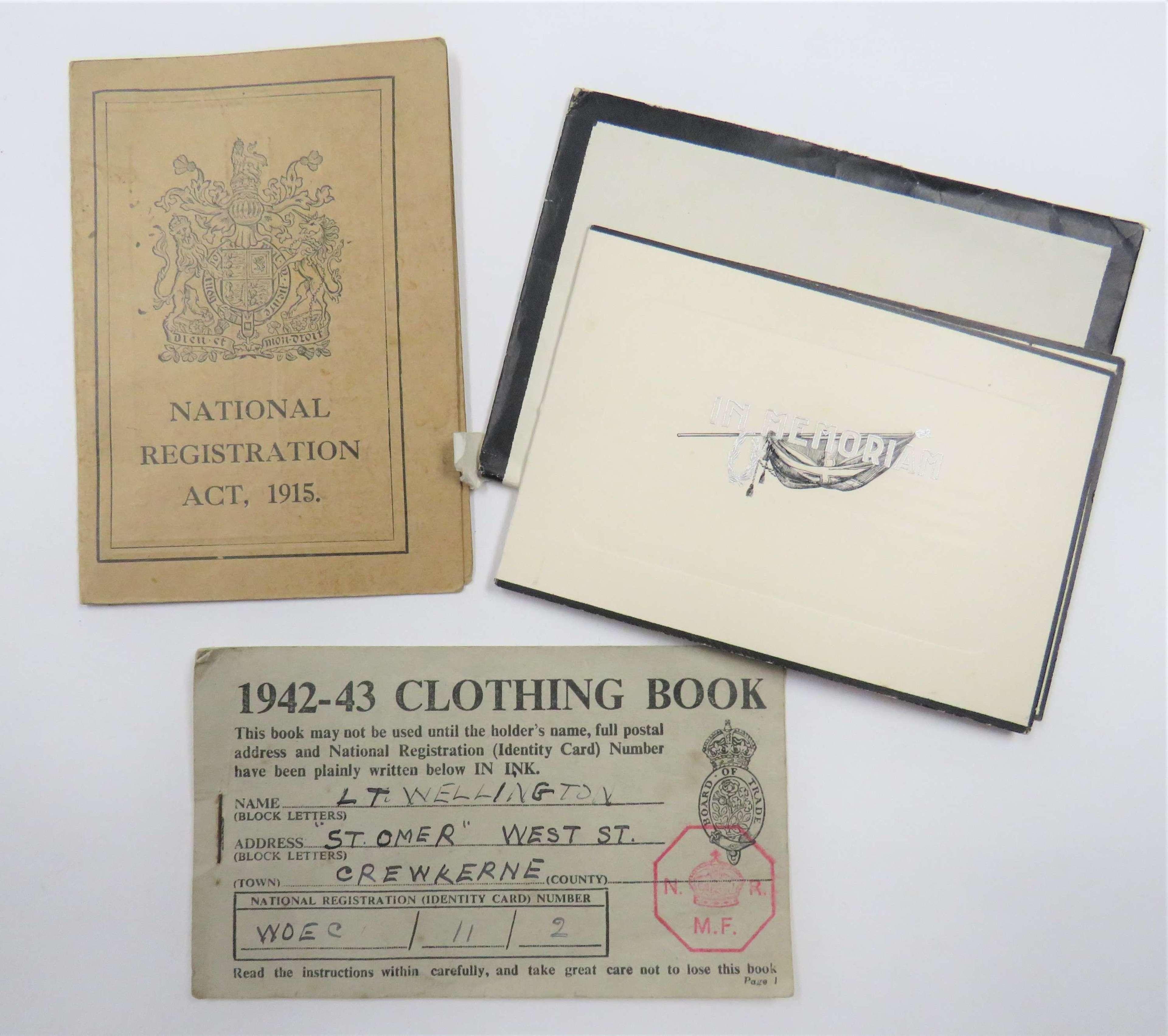 WW1 Devon Regiment Memorial Card and Family Paperwork