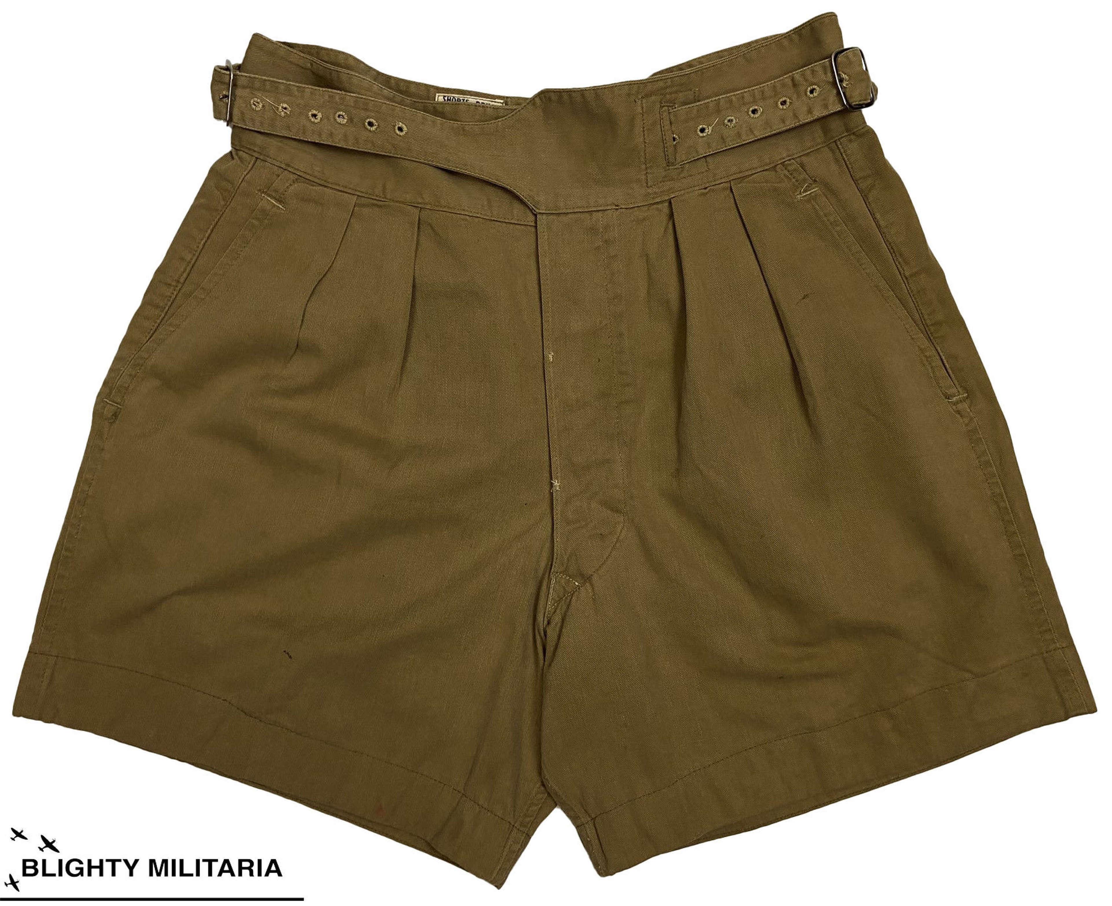 Original 1954 Dated British 1950 Pattern Khaki Drill Shorts - Size 8