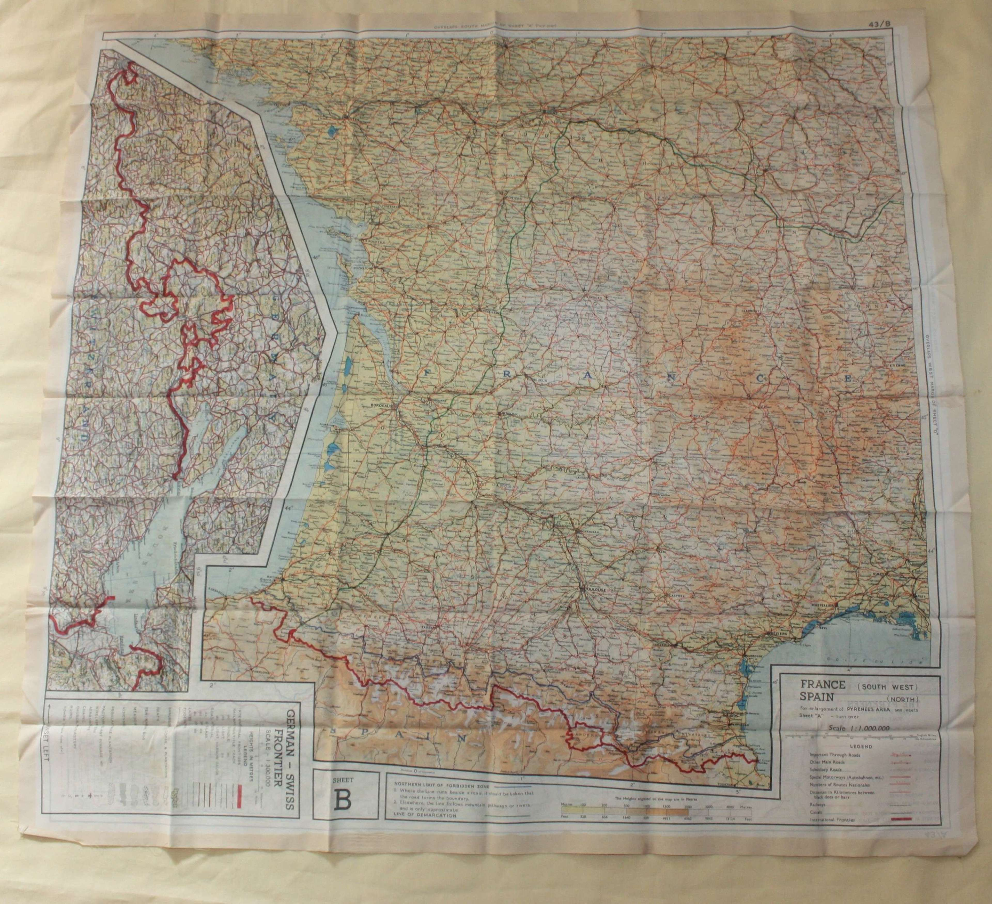 A VERY GOOD WWII RAF ESCAPE MAP CENTRAL EUROPE FRANCE , SWISS BOARDERS