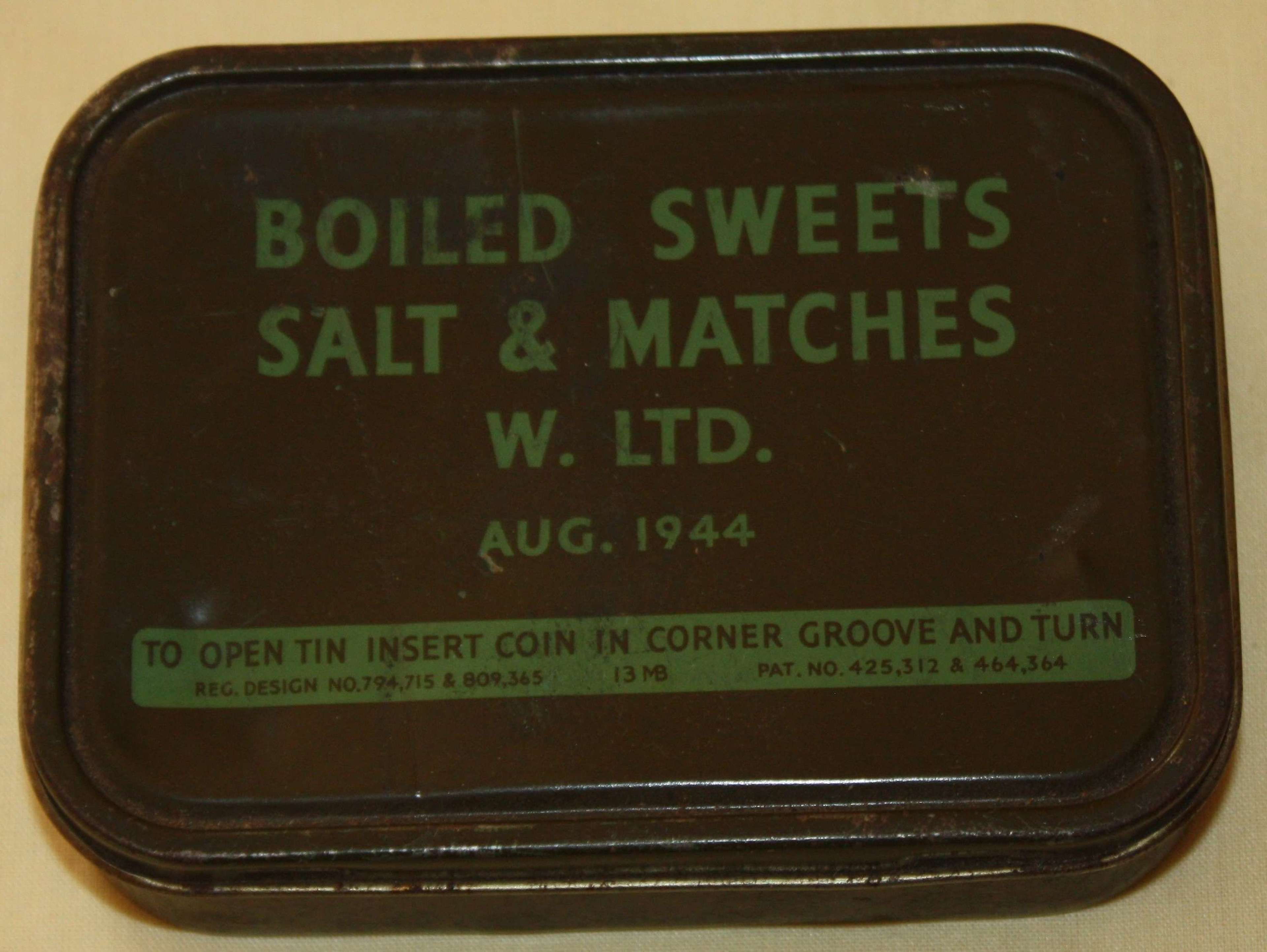 A RARE EXAMPLE OF THE BOILD SWEETS AND MATCHES RATION TIN
