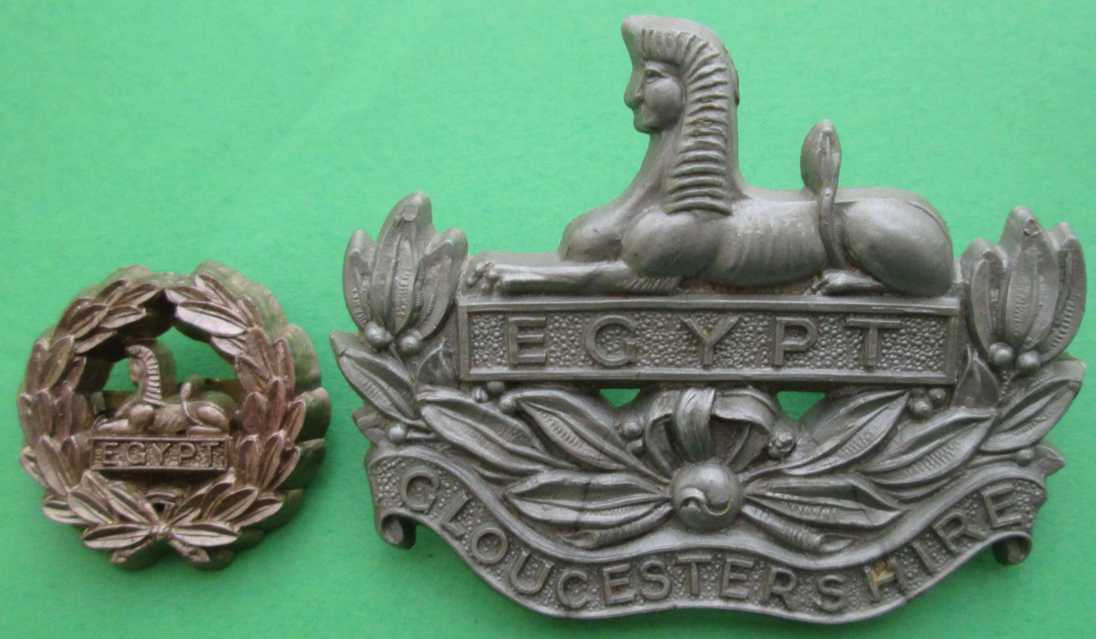 WWII PERIOD PLASTIC GLOUCESTERSHIRE CAP AND REAR BADGE