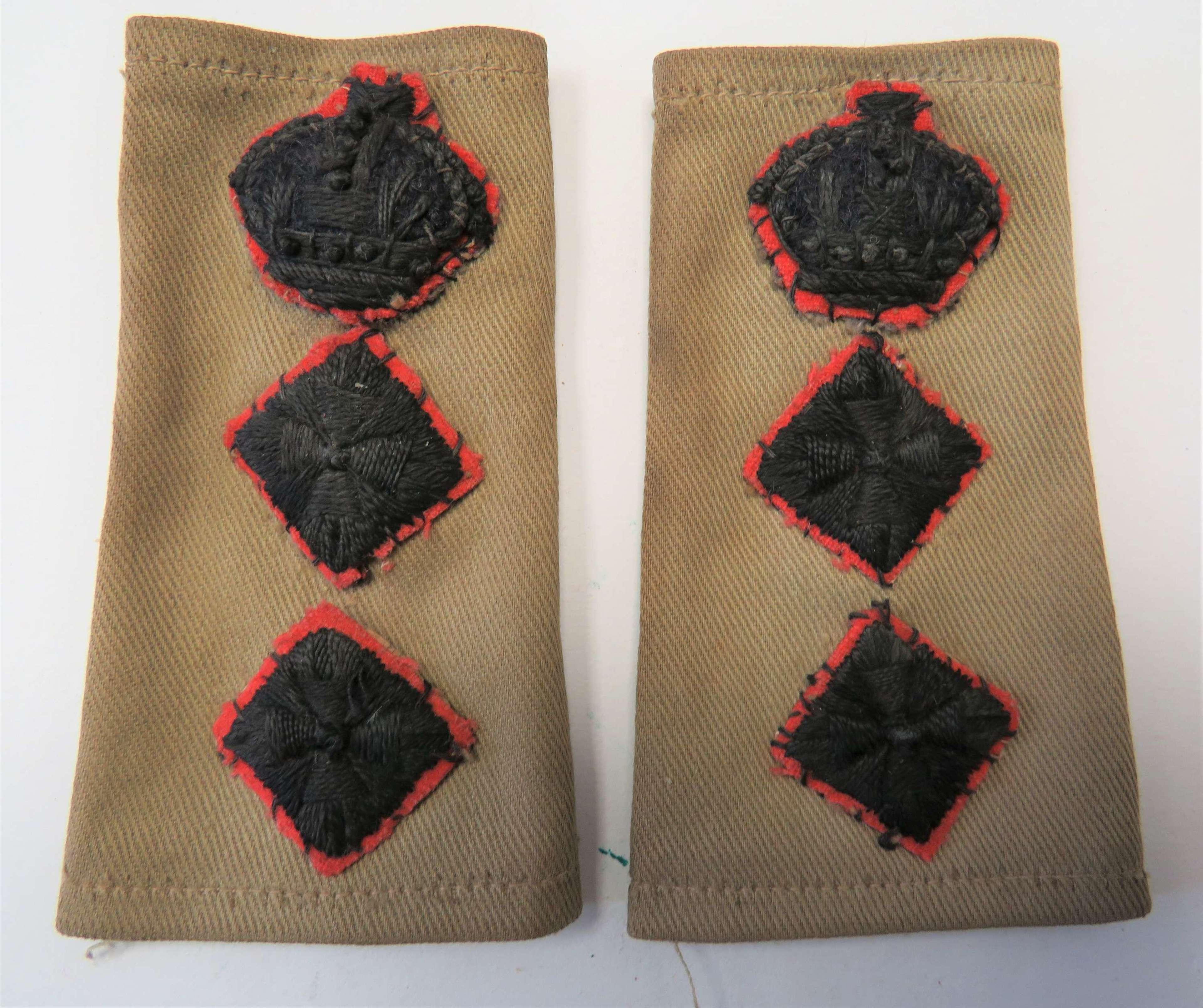 Pair of WW2 Rifles Colonel Slip on Rank Tabs