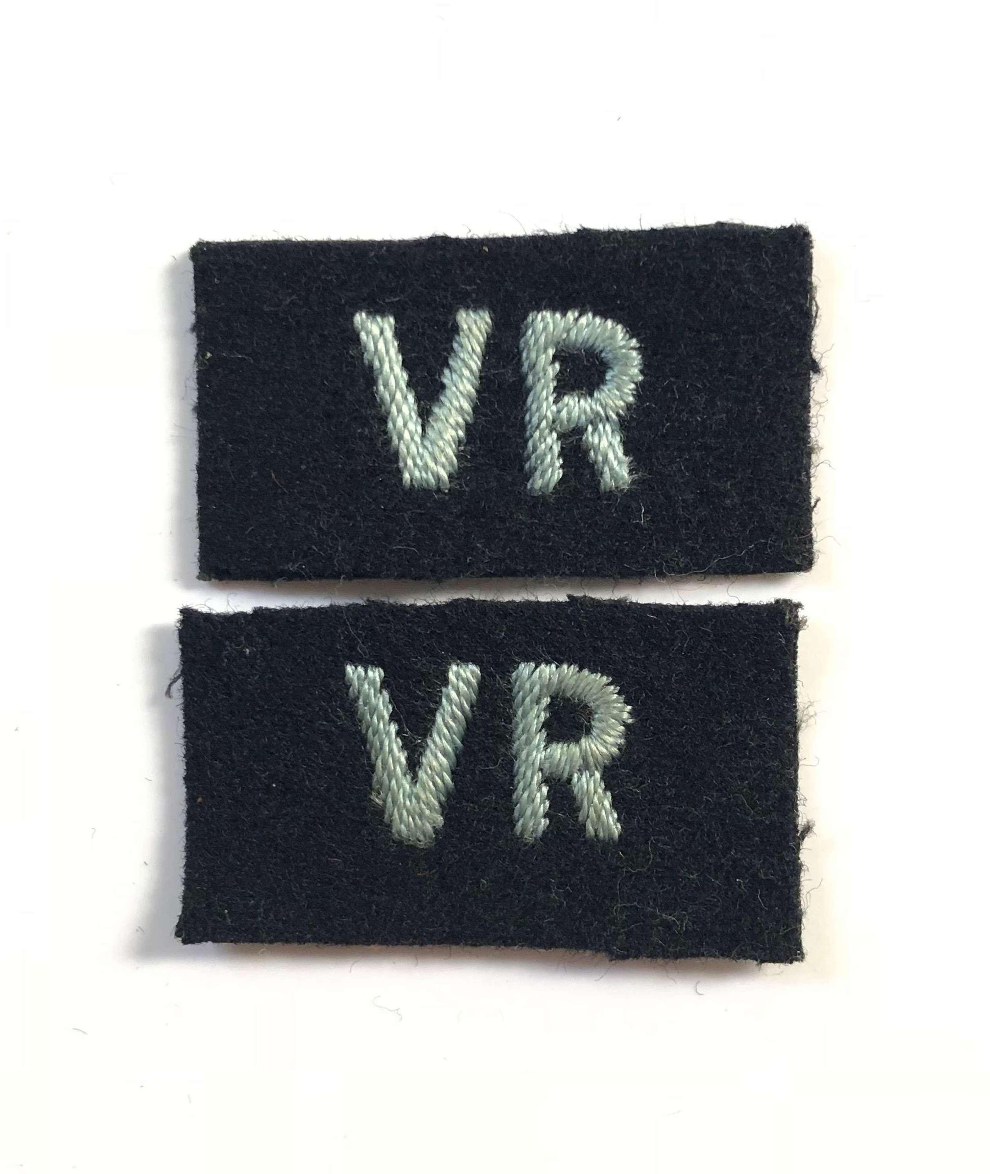 WW2 RAF Other Ranks VR Volunteer Reserve Cloth Badges.