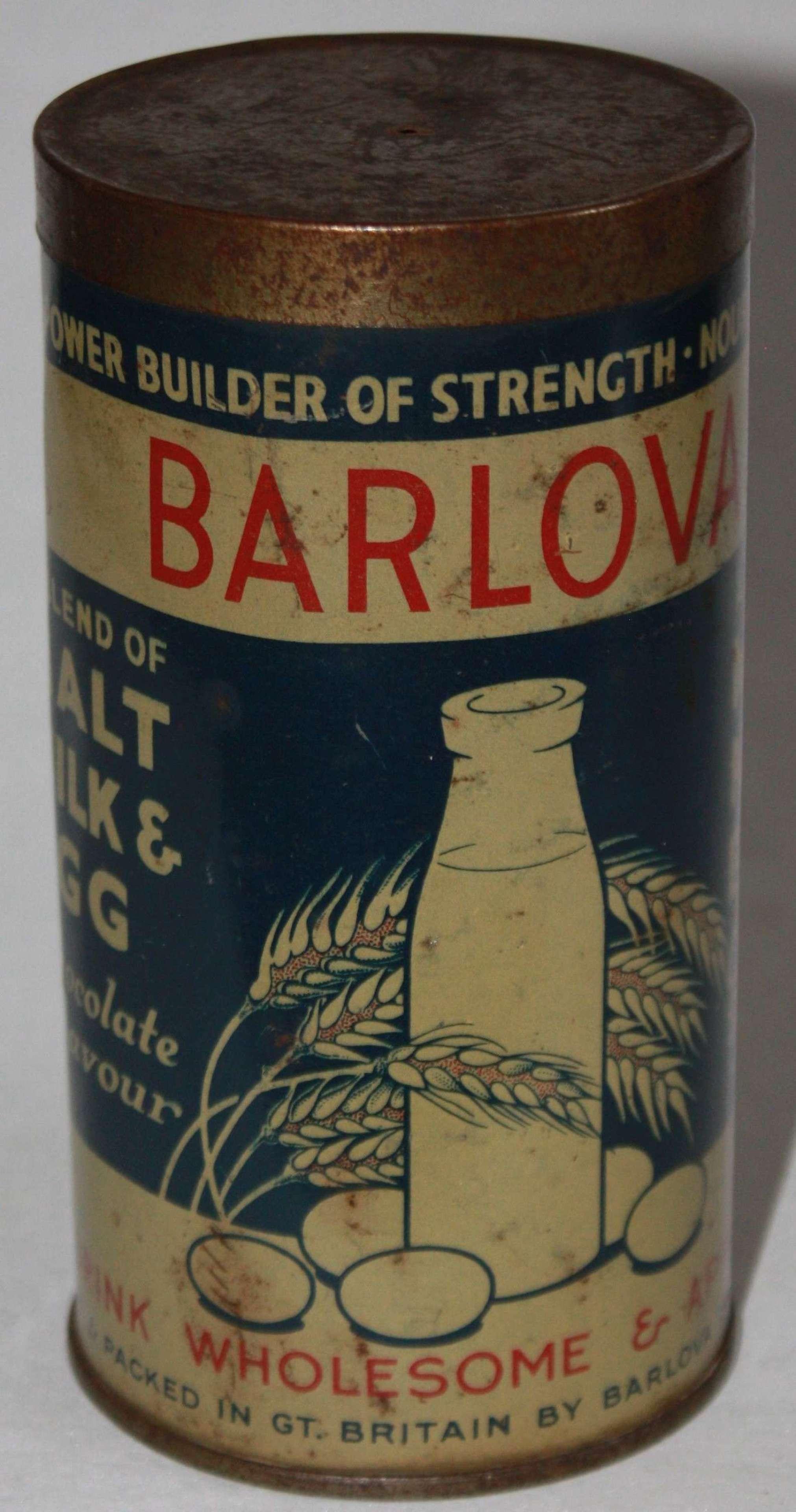 A VERY GOOD WWII HOME FRONT BARLOVA MALT MILK AND EEGS DRINK