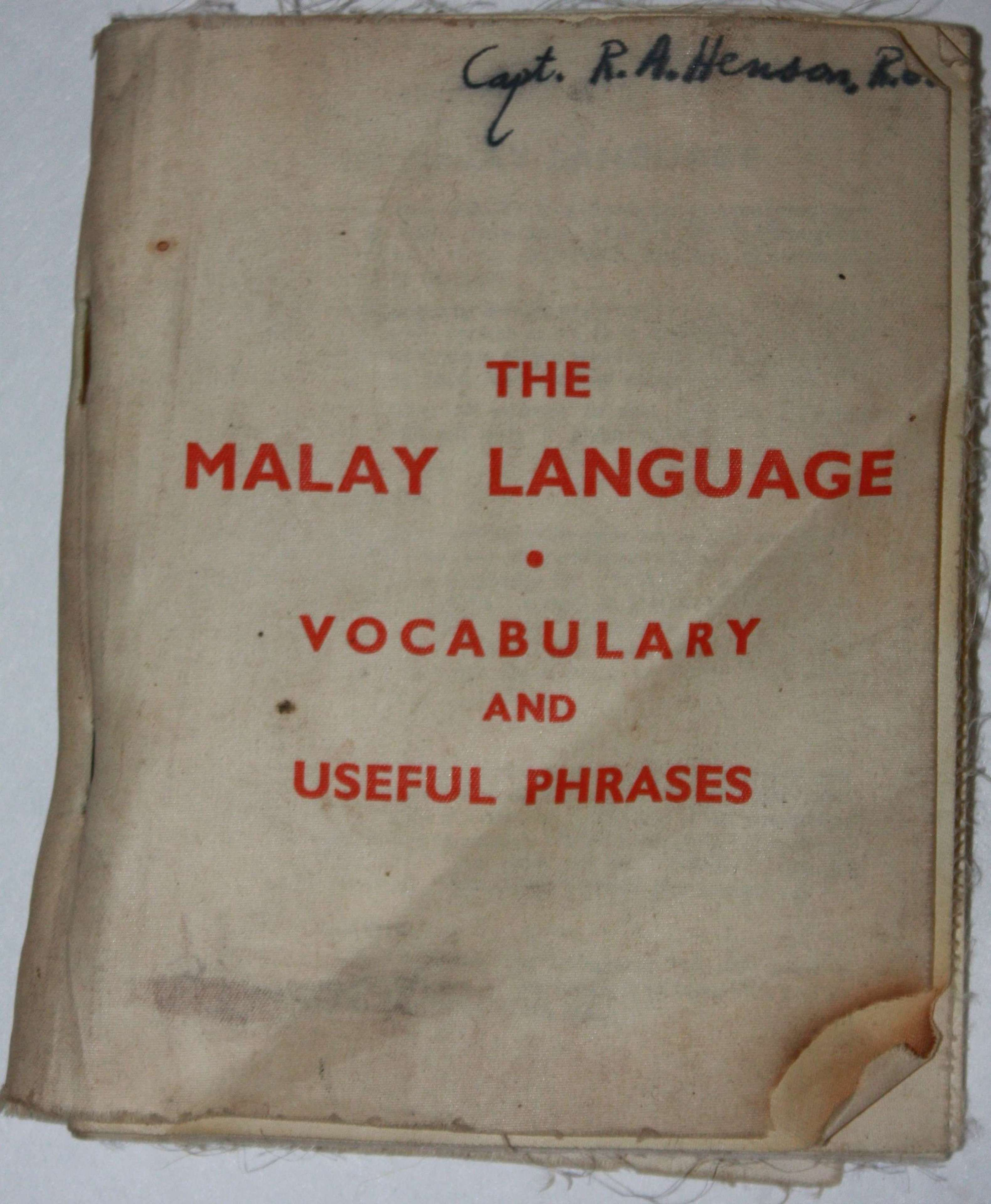 A MALAYA LANGUAGE AND VOCABULARY SILK BOOKLET CAPT R A HENSON