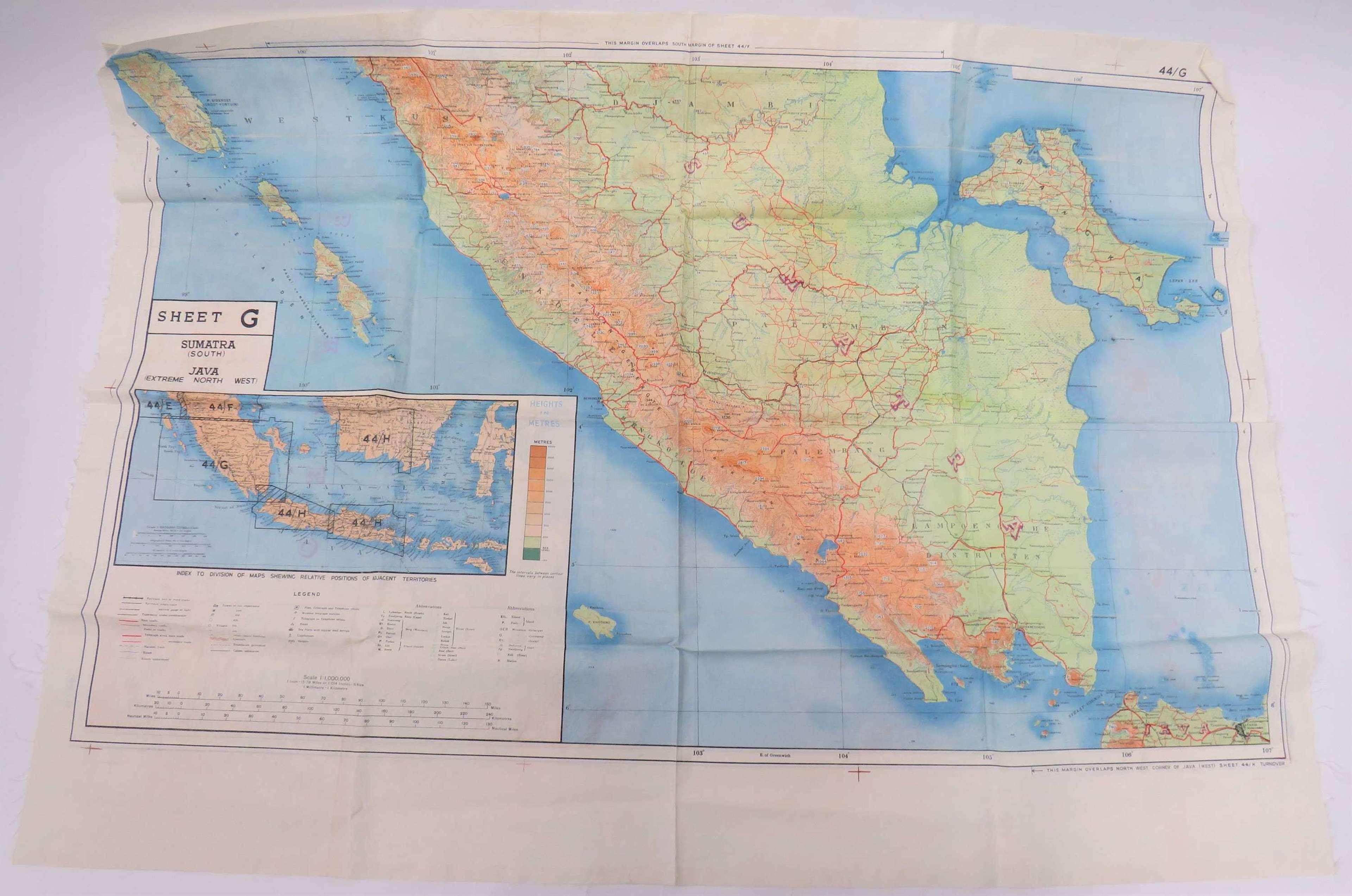 WW2 R.A.F Far East Double Sided Silk Map Of Borneo