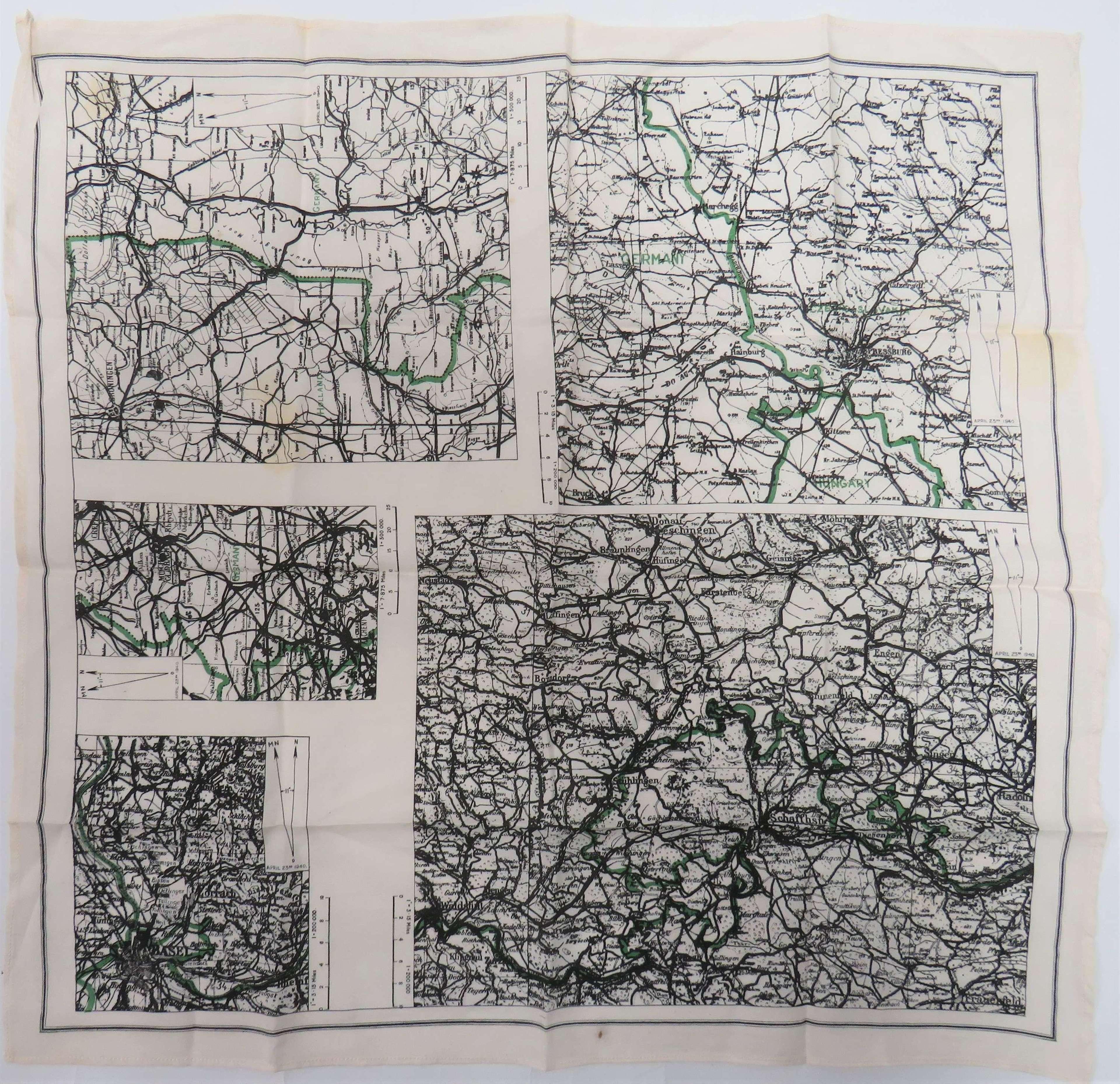 R.A.F Monochrome Small Size  5 Panel Silk Escape Map of Germany