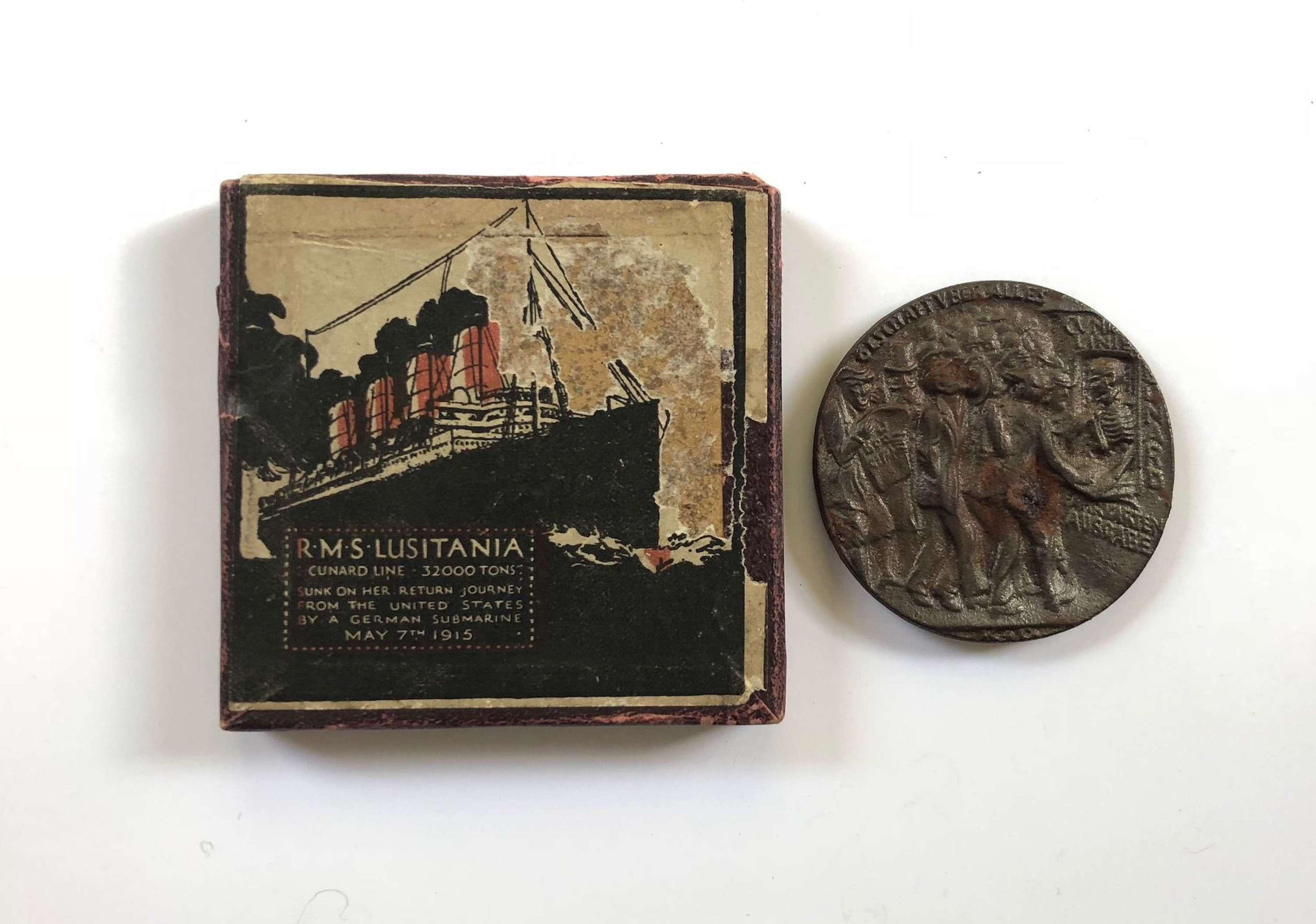 WW1 RMS Lusitania Cunard Shipping Line commemorative medal.