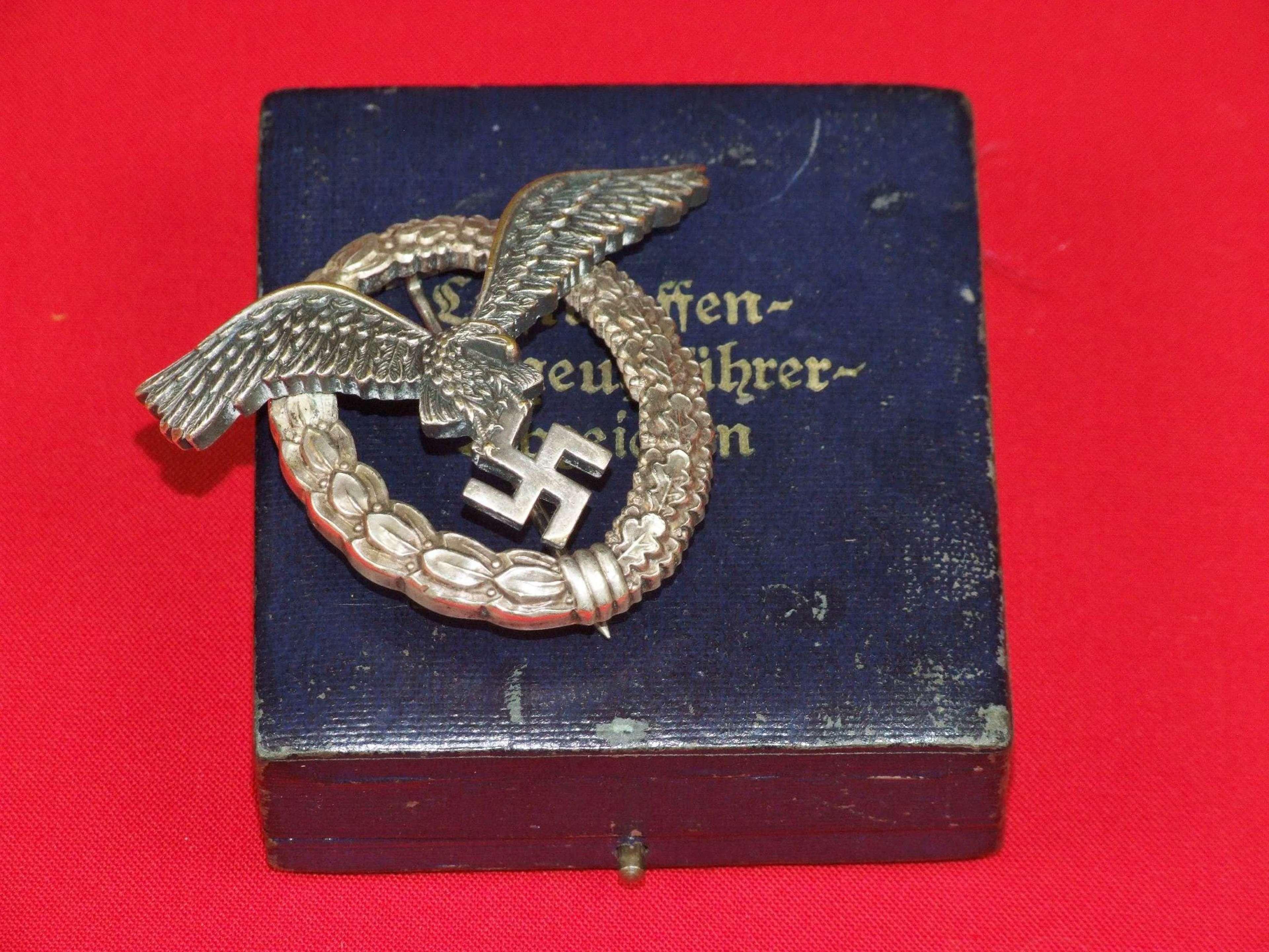 Cased Luftwaffe Pilot's Badge in Tombak by B&N L