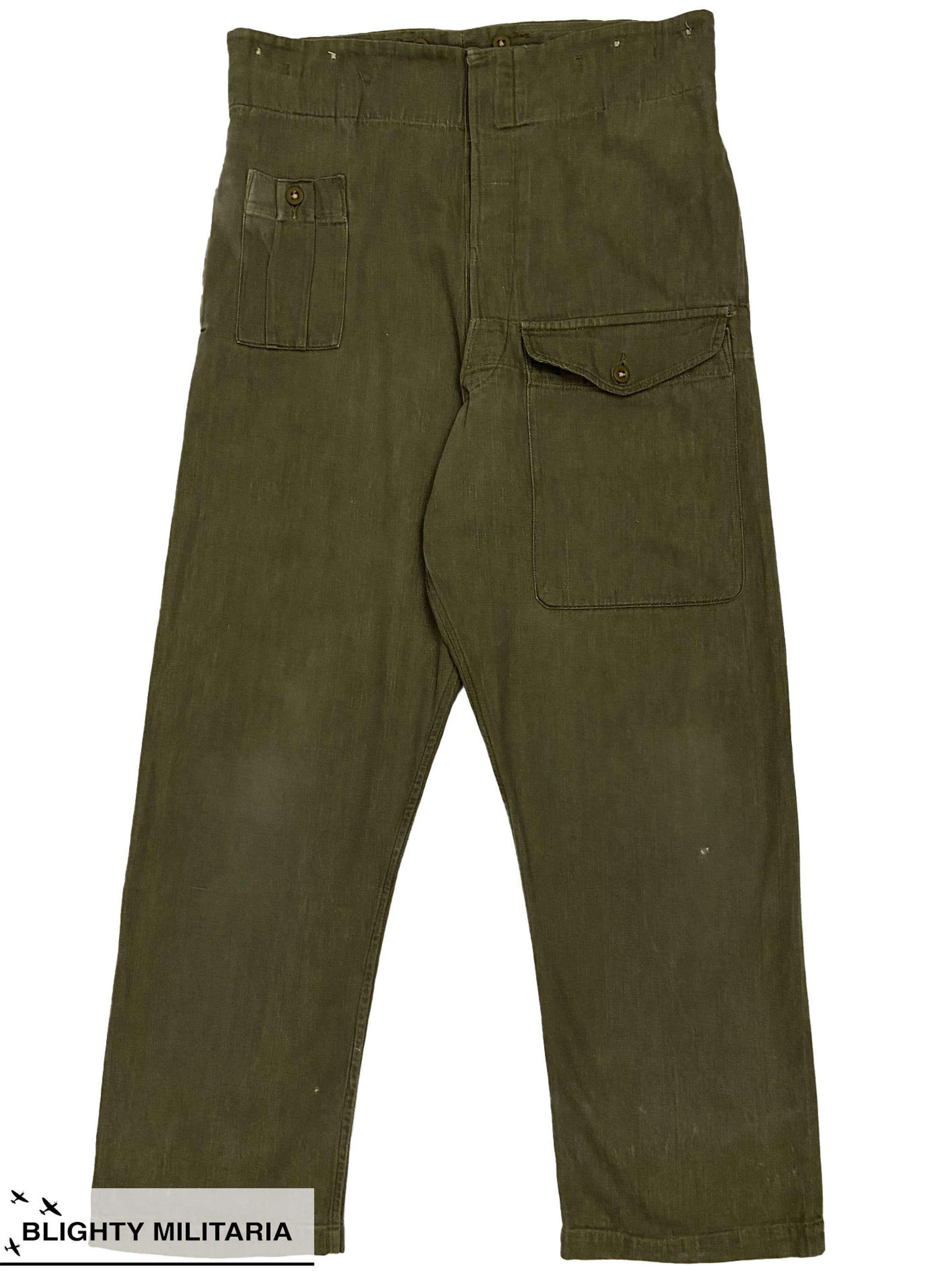 Original 1952 Dated British Army Denim Battledress Trousers - Size 9