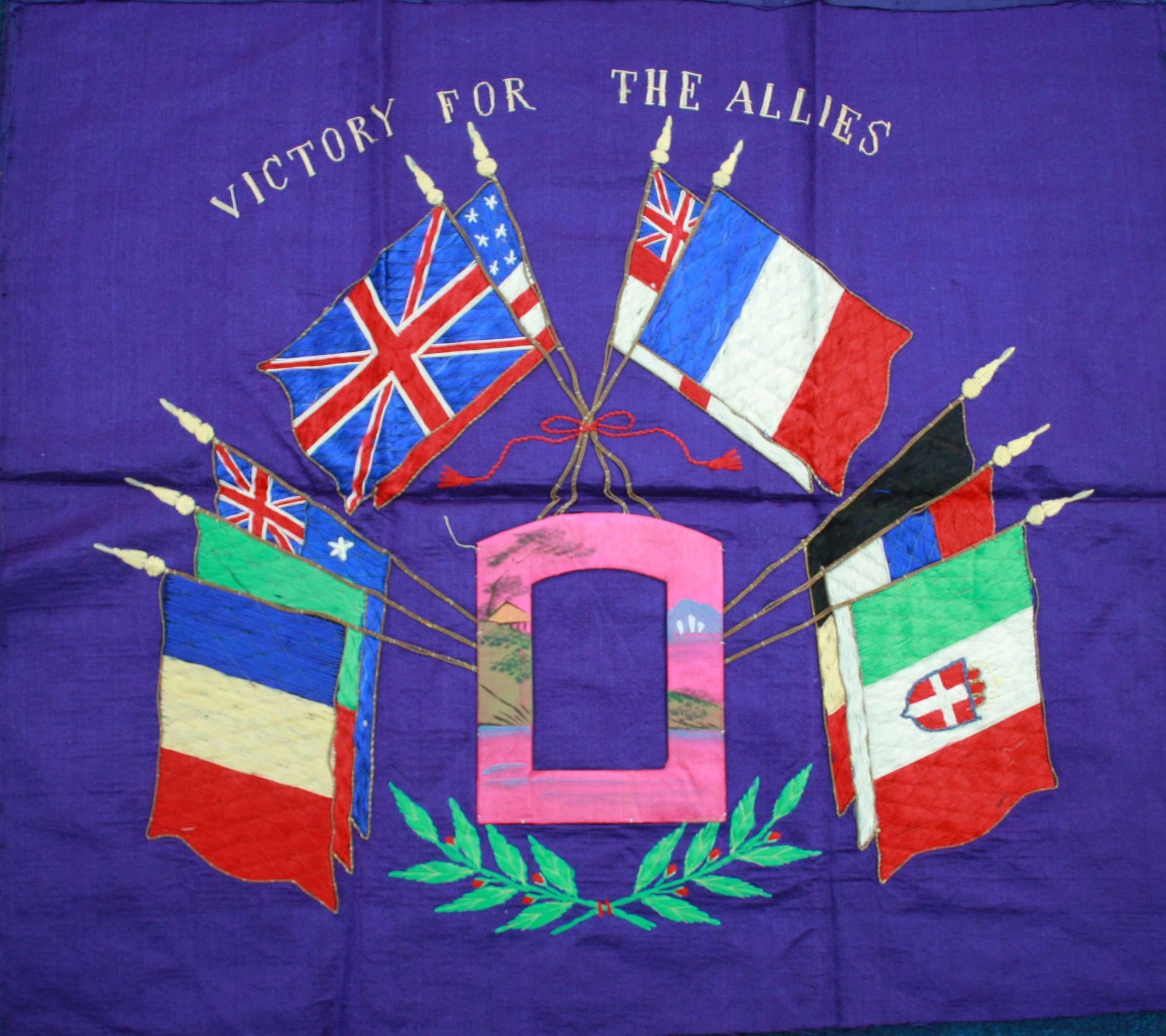 WW1 Japanese Made 'Victory For The Allies' Silk Wall Hanging