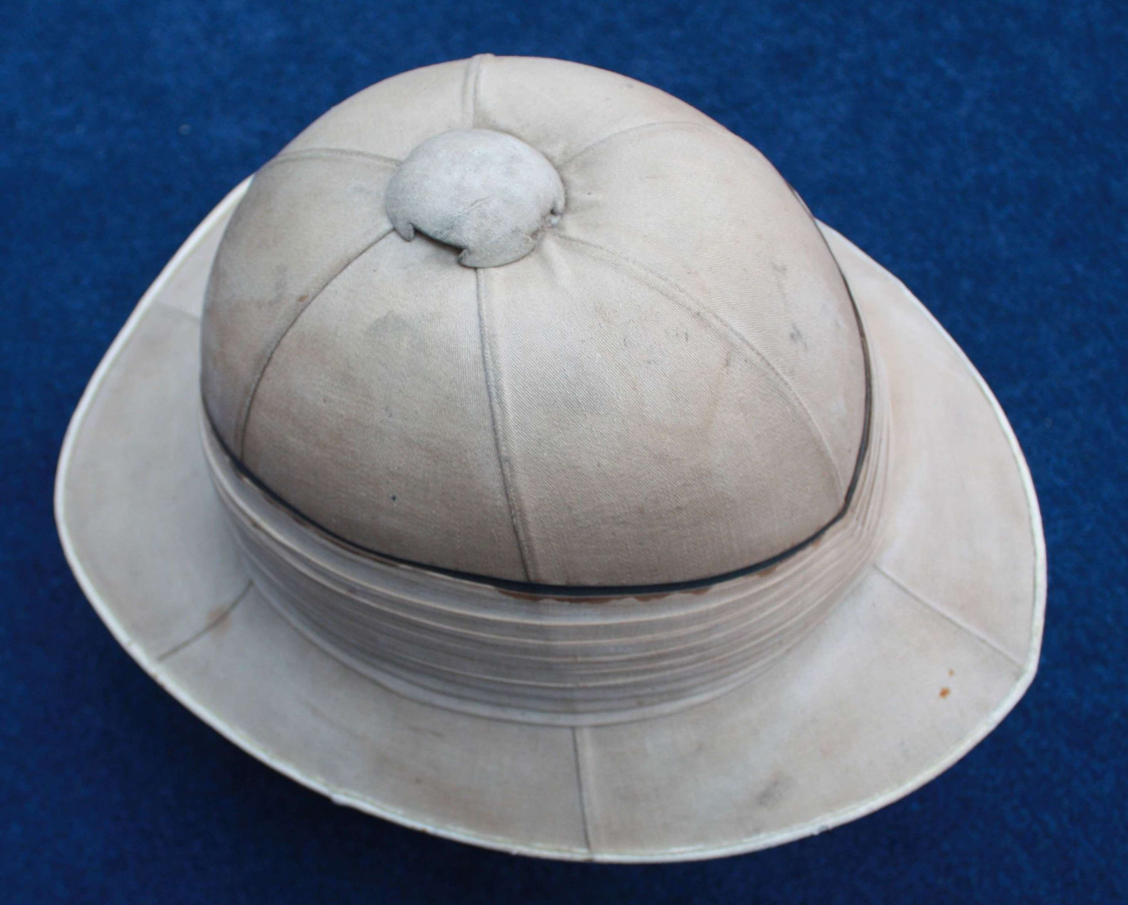 British Royal Navy Officer's Pith Helmet & Named Tin by Gieves