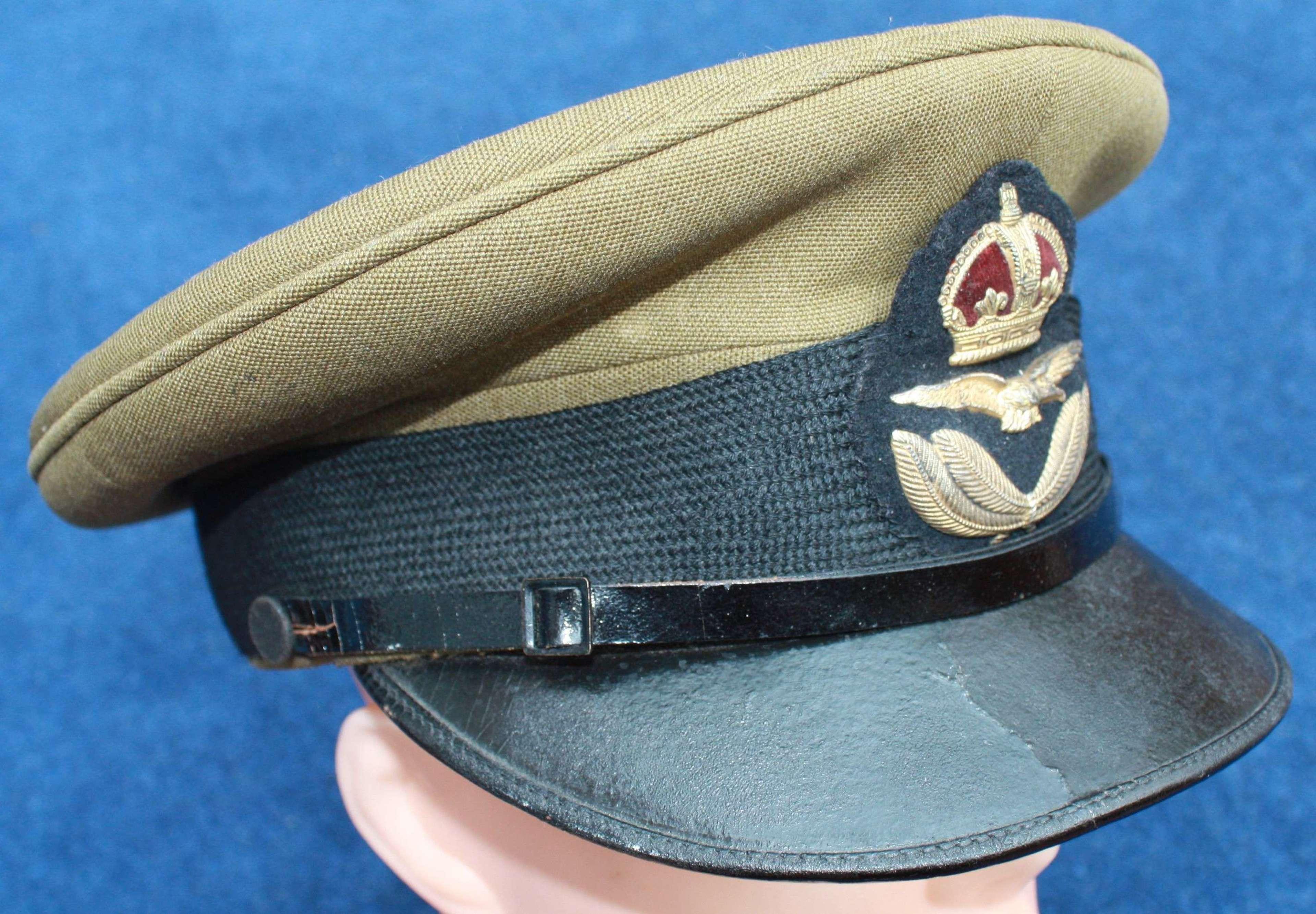 1918 RAF Royal Air Force Officer's Cap & Gaunt Bullion Badge