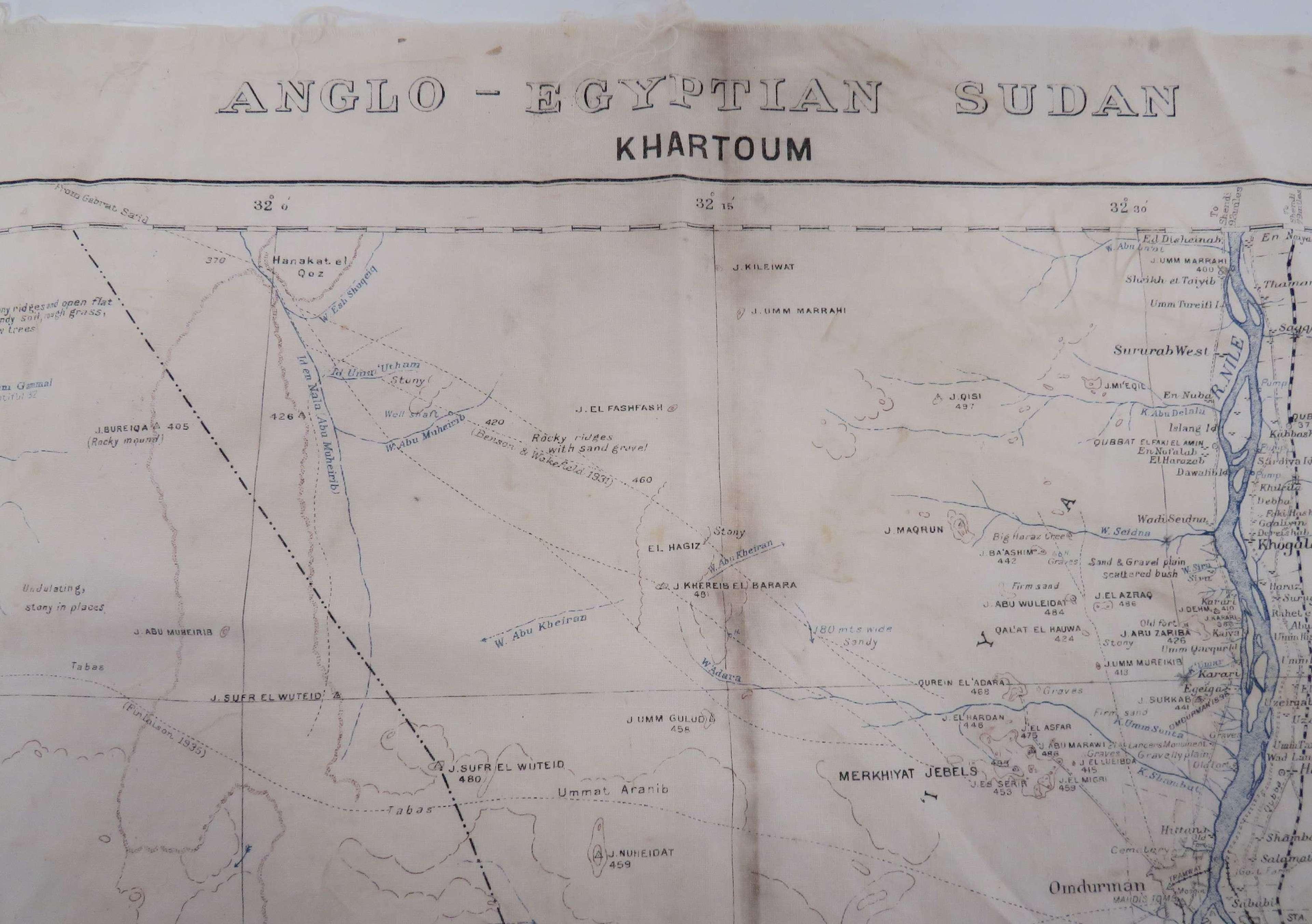 Rare Anglo-Egyptian Sudan Escape Map Covering Khartoum 1940